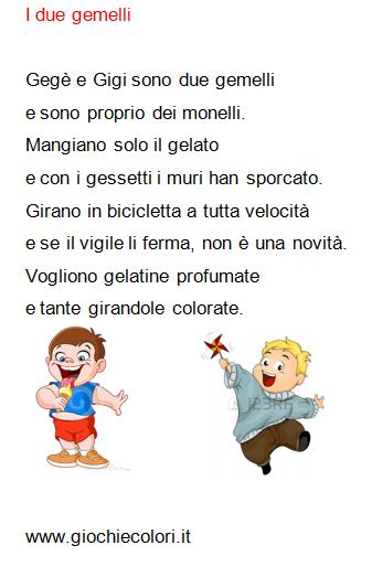 Schede didattiche per la scuola primaria giochi disegni da colorare enigmistica storia dell - Gemelli diversi mary testo ...