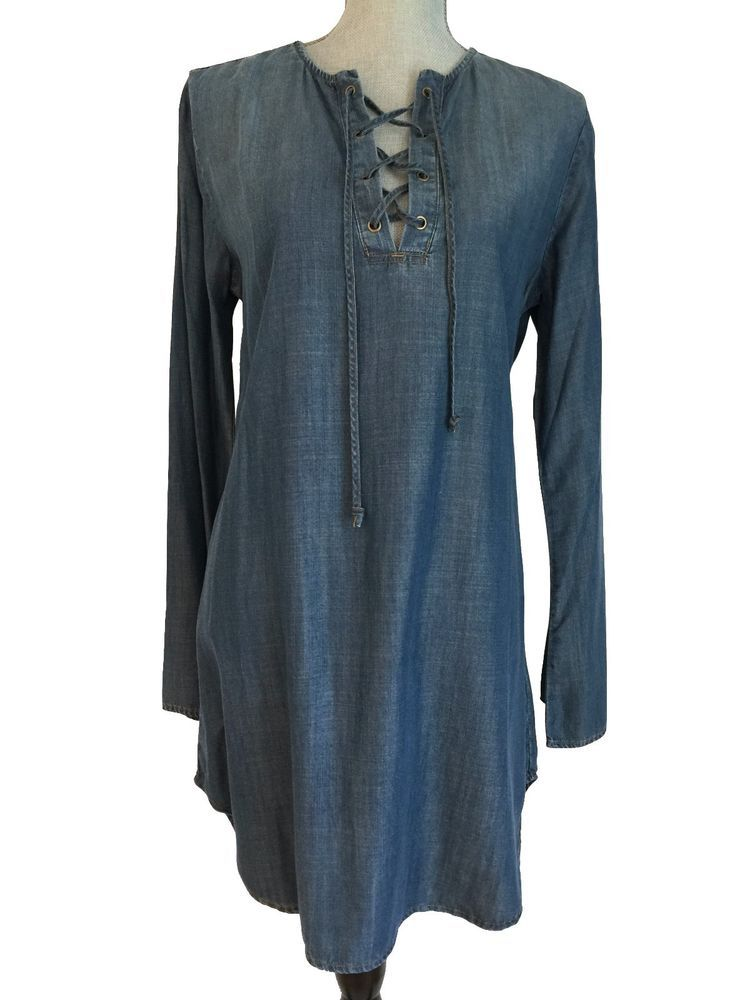 3d6d456139615 NEW Anthropologie Cloth & Stone Blue Chambray Bell Sleeve Lace Up Shirt  Dress M #Anthropologie #ShiftTunicShirtDress #Casual