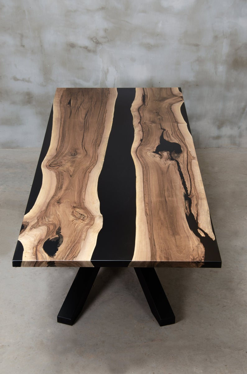 Personalized live edge table made of european waln