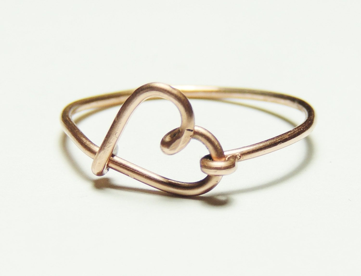 copper wire love heart ring- love script ring- Special price ...