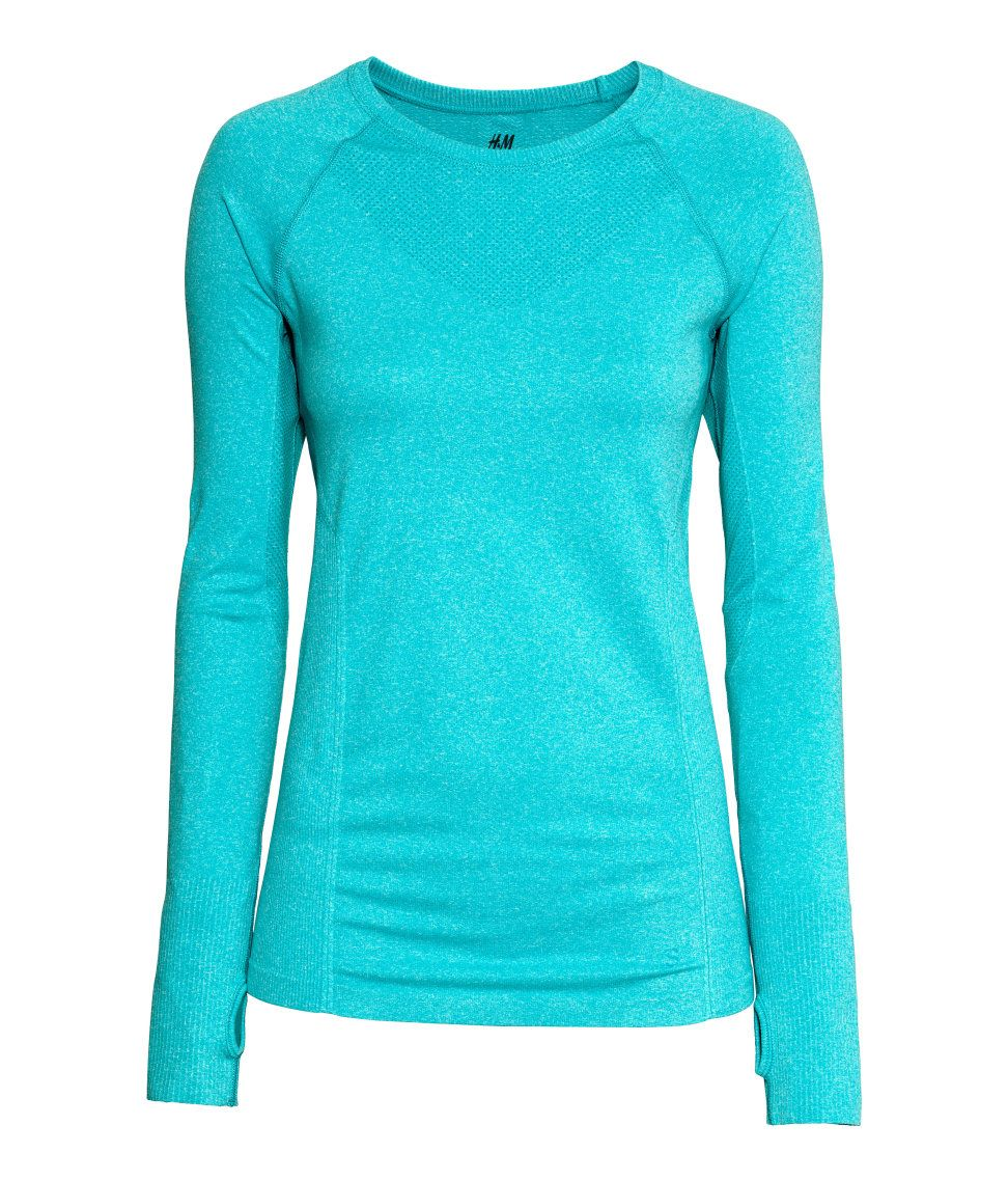 Turquoise fitted long-sleeved sports top in fast-drying functional fabric…
