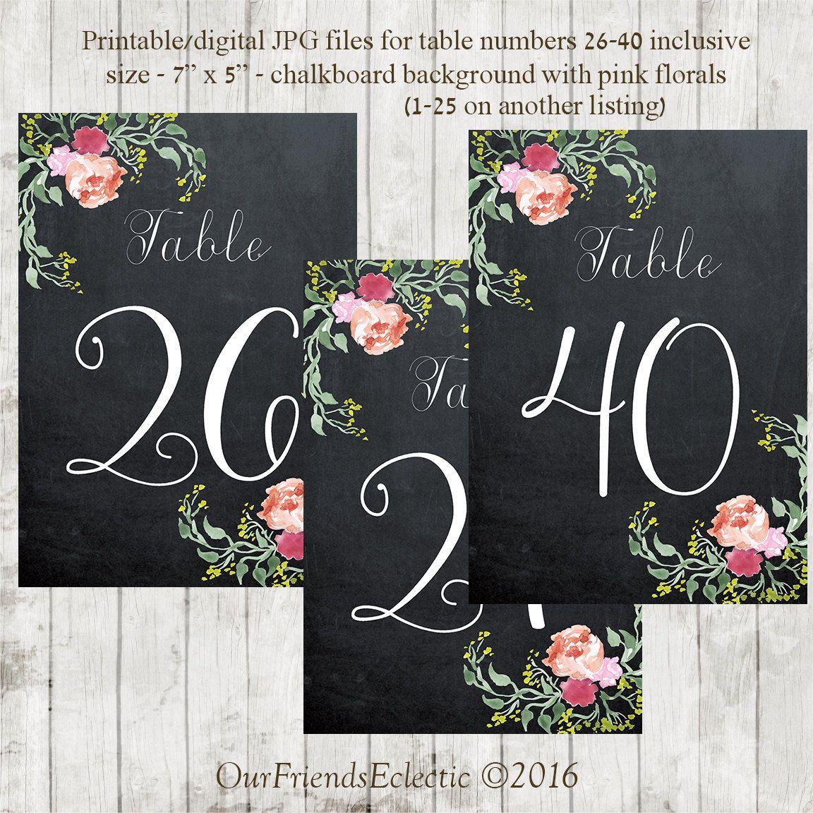 Printable Chalkboard Table Numbers Wedding 26 40 Fl Digital