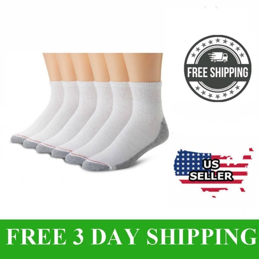 6 12 Pair HANES Men/'s White Cotton Stretch Athletic Ankle Sock Size10-13. 3