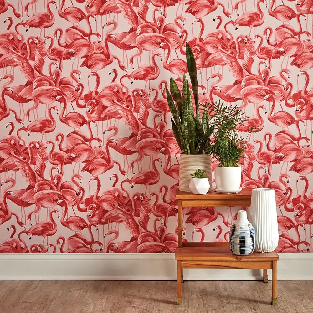 Alexio Flamingo Cheeky 16 5 L X 20 5 W Peel And Stick Wallpaper Roll In 2021 Wallpaper Accent Wall Flamingo Wallpaper Removable Wallpaper