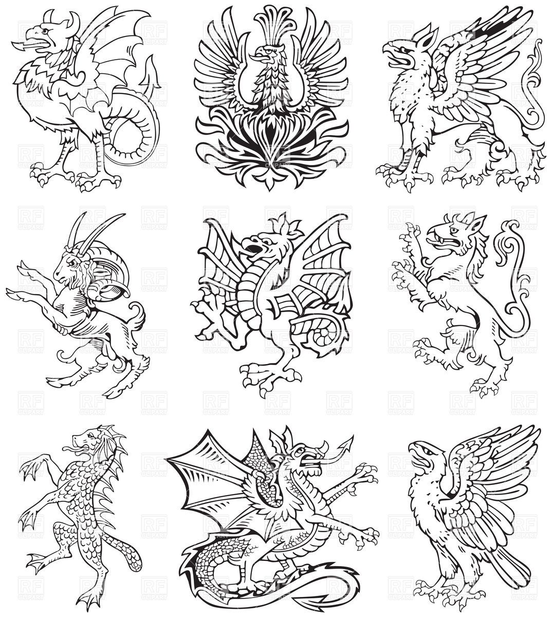 How to breed heraldic dragon - Mythological Heraldic Monsters Gryphons And Dragons Download Royalty
