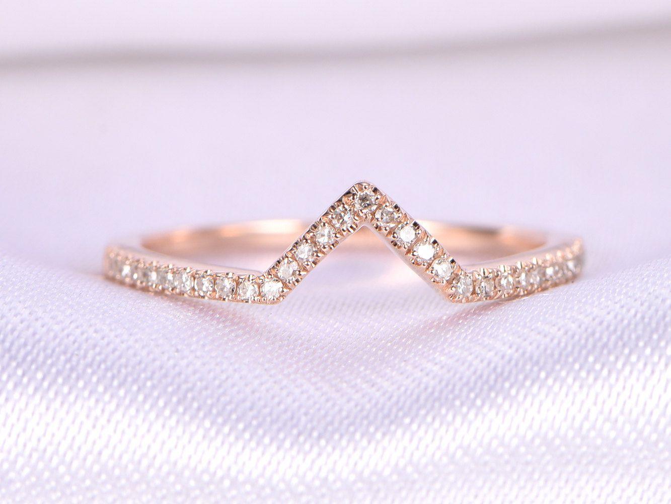 Curved V Diamond Wedding Ring Anniversary Ring 14k Rose