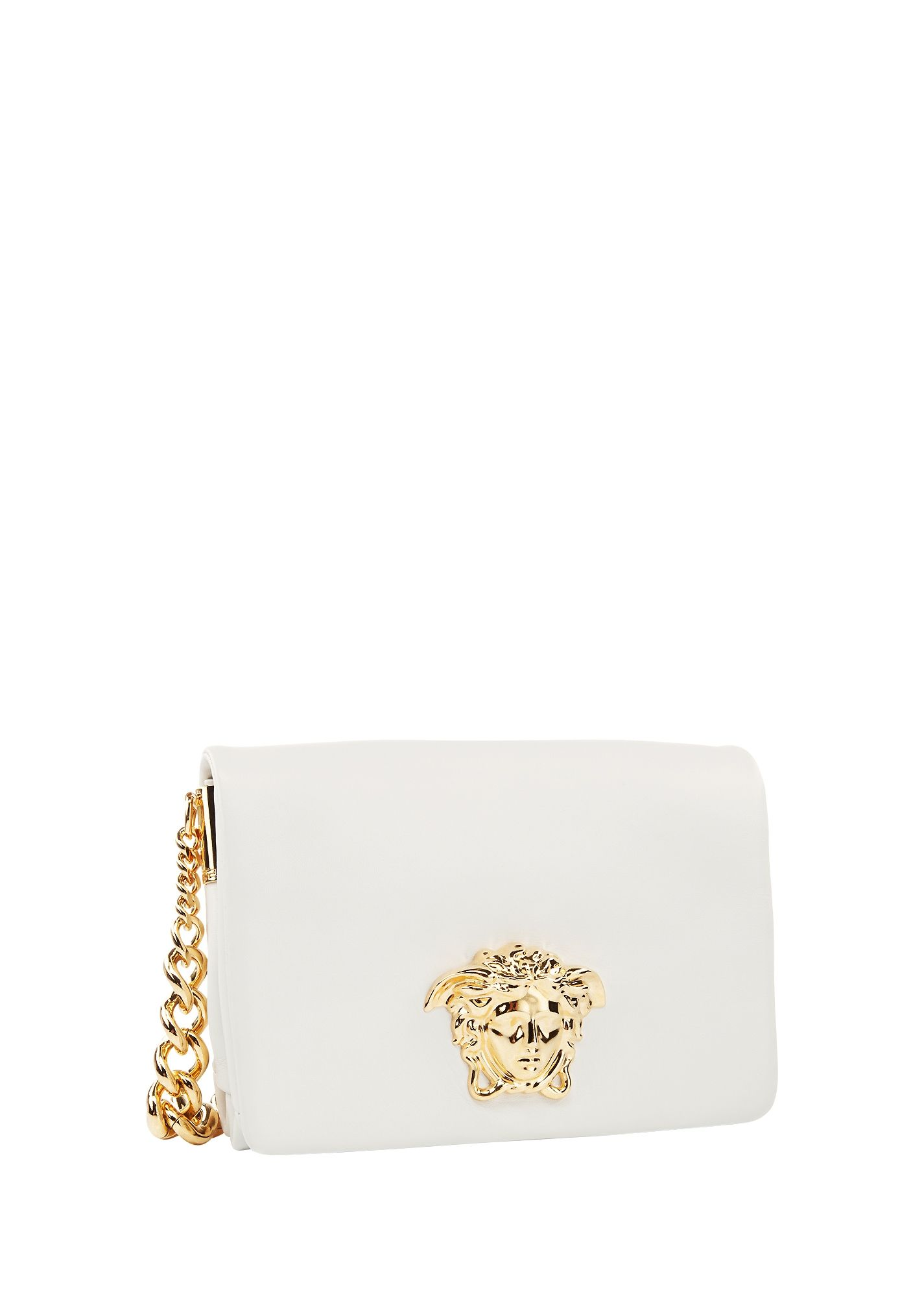 7b5e39e7699 This white #Versace Palazzo handbag, embellished with the gold Medusa head,  lends a lady-like accent to contemporary looks.
