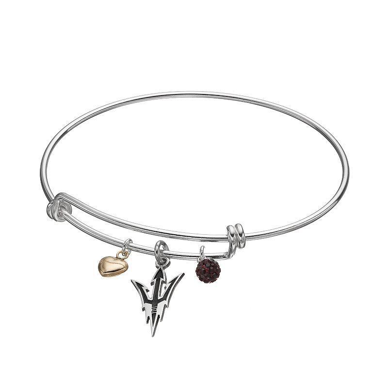Fiora Sterling Silver Arizona State Sun Devils Charm Bangle Bracelet, Women's, Dark Red