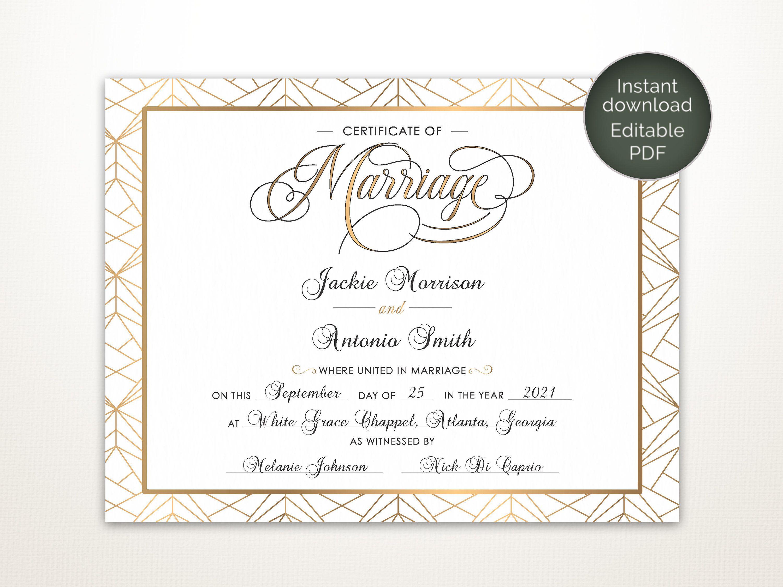 Modern Wedding Certificate Printable Certificate Of Marriage