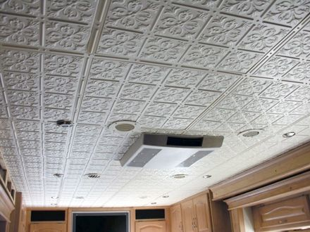 Glue Up Ceiling Tiles Look Like Tin Remodeled Campers