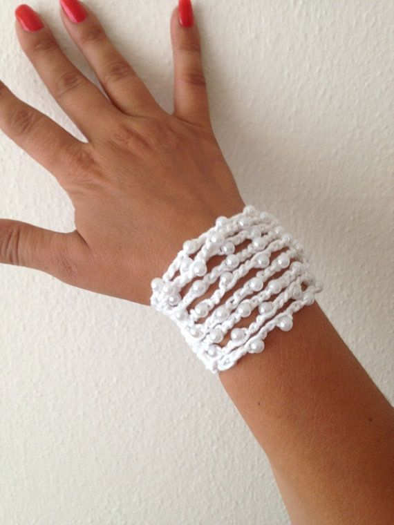 White Rope Bracelet with white beads beachboho by ArtofAccessory, $15.00