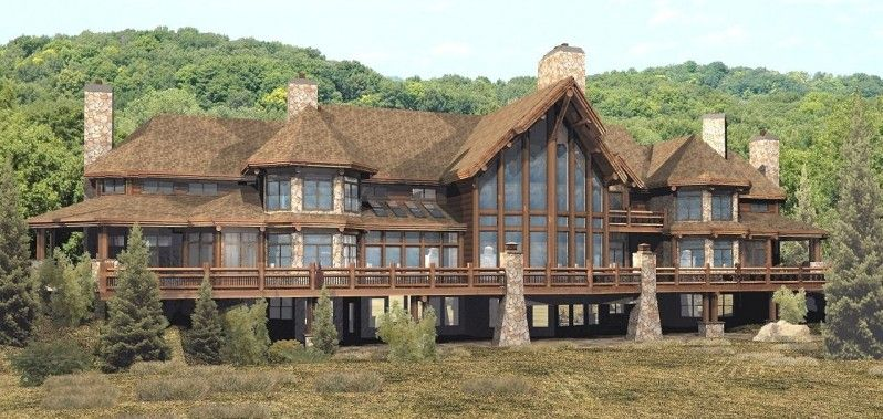 House luxury log home plans natural stone chimney stone for Stone and log homes