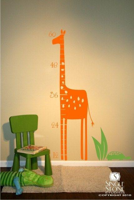 Giraffe growth chart wall decal nursery von singlestonestudios rund ums kind - Baby jungenzimmer ...