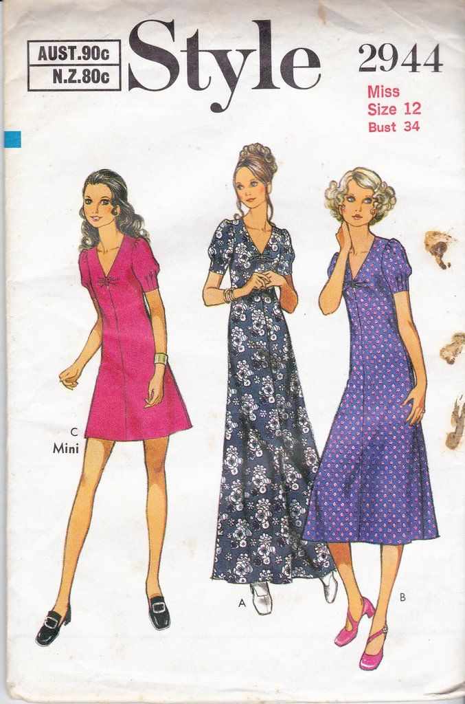1970s Style 2944 Vintage Sewing Pattern Boho Dress Maxi Dress Size 12 Bust 34 inches UNCUT Factory Folded