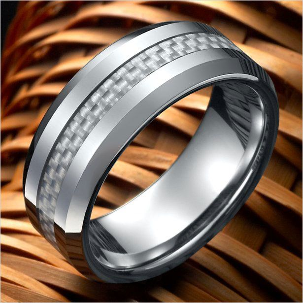Unique Mens Carbon Fiber Ring Tungsten Wedding Band 8mm Silver | RnBJewellery