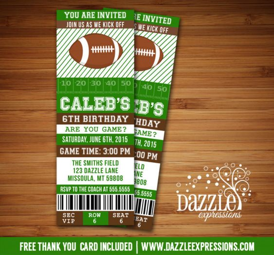 Printable Football Ticket Birthday Invitation Can be designed - free template for birthday invitation