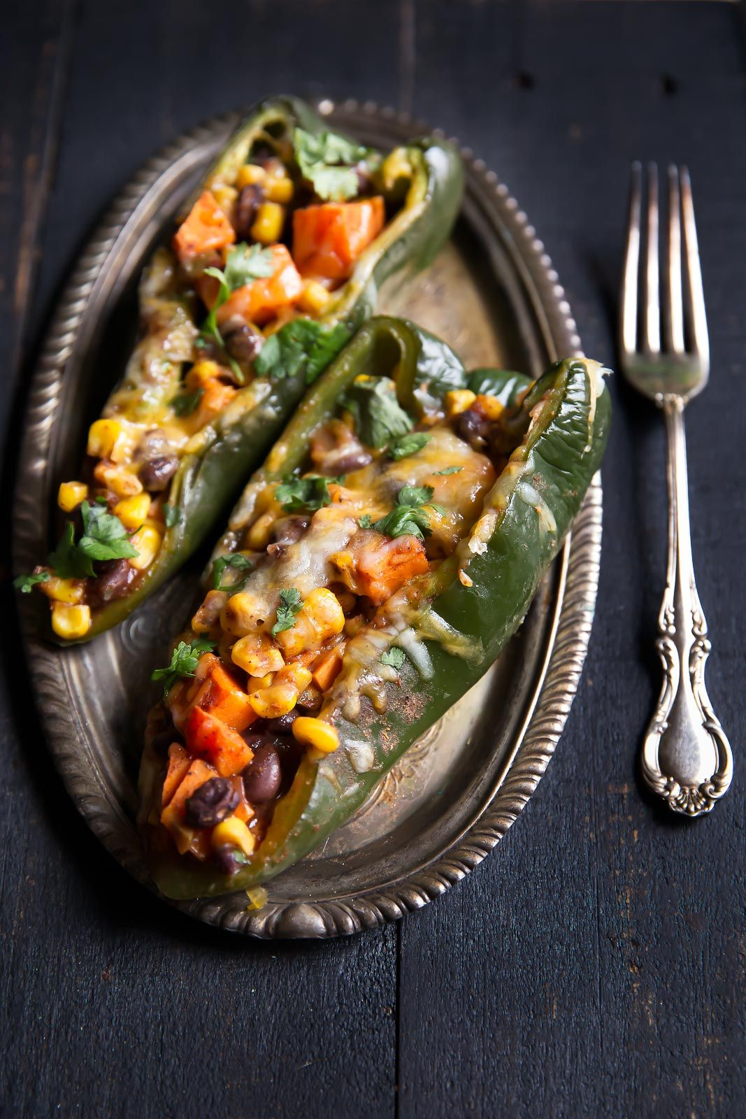 Stuffed Poblano Peppers With Black Bean Corn Sweet Potato Recipe Stuffed Peppers Food Sweet Potato Vegetarian