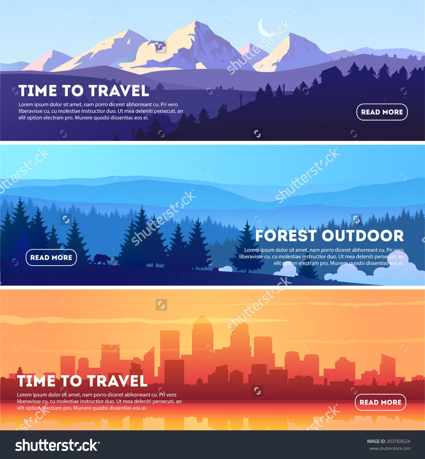 Vector Beautiful Landscape Banner Set Horizontal Banner Concept For Web Design Development Web Pag Banner Design Layout Web Development Design Webpage Design