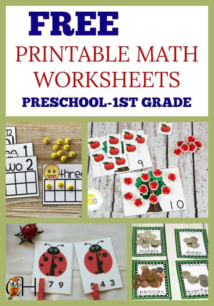 Free Printable Math Worksheets for Preschool 1st Grade