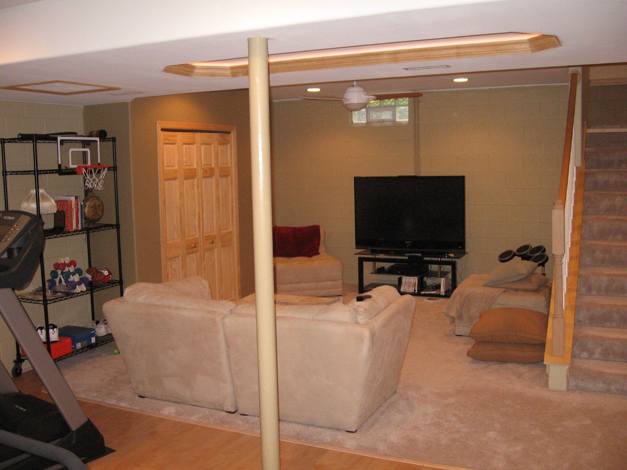 Partial finished basement basement man cave pinterest basements finished basements and - Ideas for finishing basement ...
