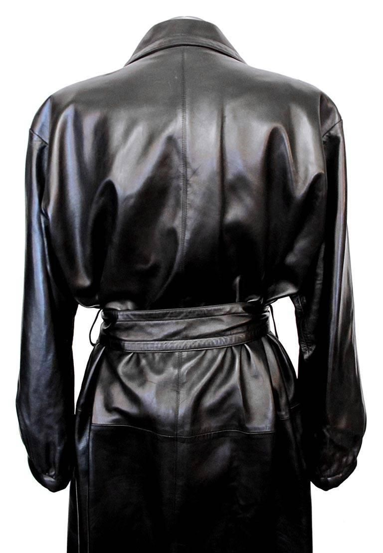 f72fec8eb2a Collectable 1980's Yves Saint Laurent Black Leather Trench Coat ...