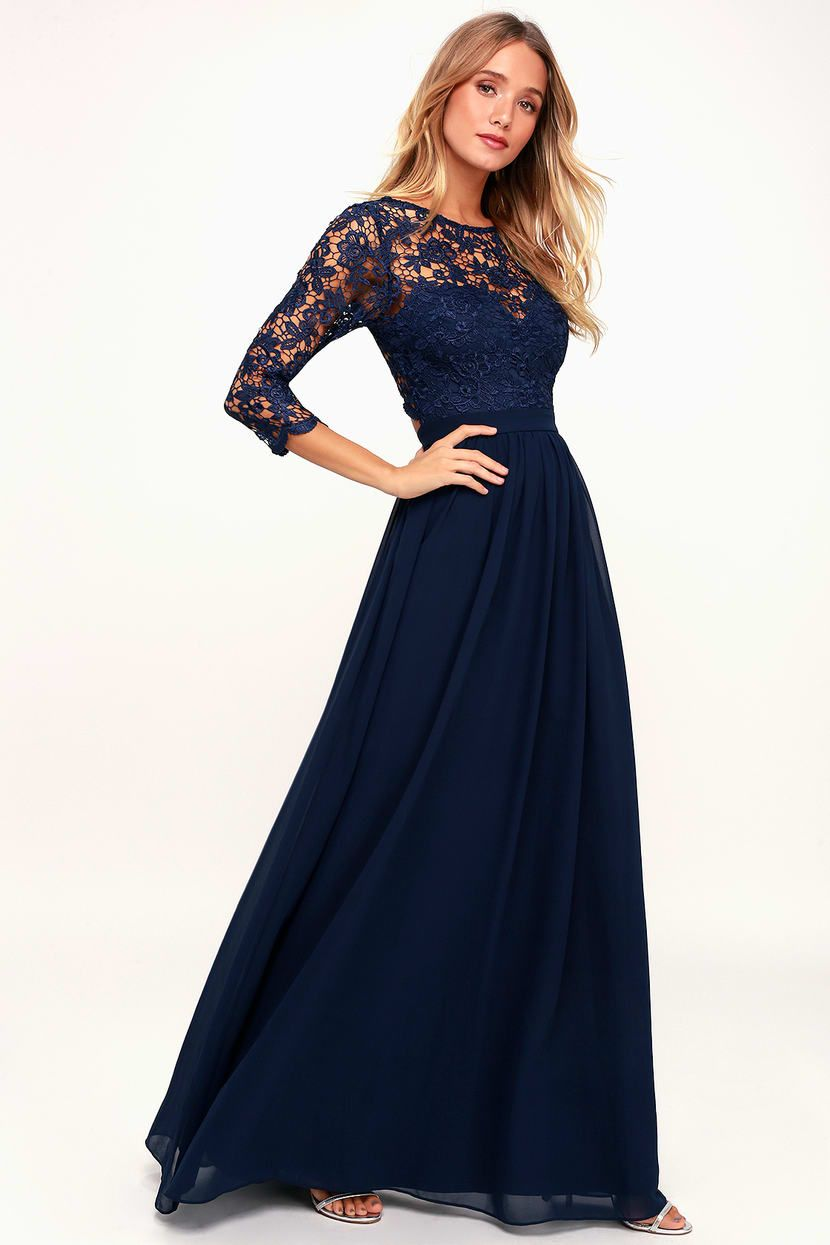 Touch My Heart Navy Blue Lace Up Lace Maxi Dress In 2020 Long Sleeve Bridesmaid Dress Lace Blue Dress Lace Dress With Sleeves