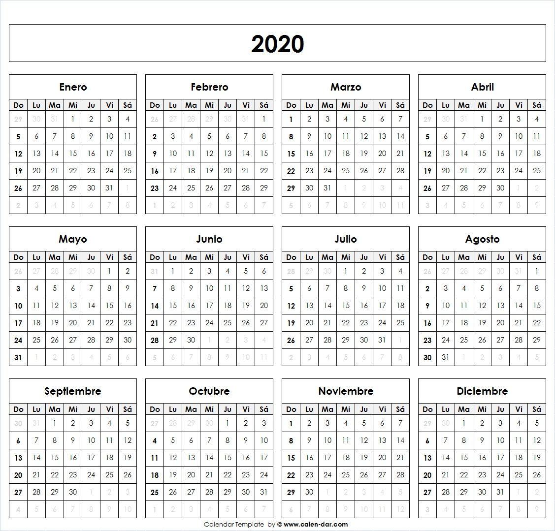 Calendario Chile 2020.Calendario 2020 Calendarios Calendario En Blanco