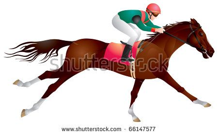 Derby Equestrian Sport Horse And Rider In Vector Racing Jockey Competition