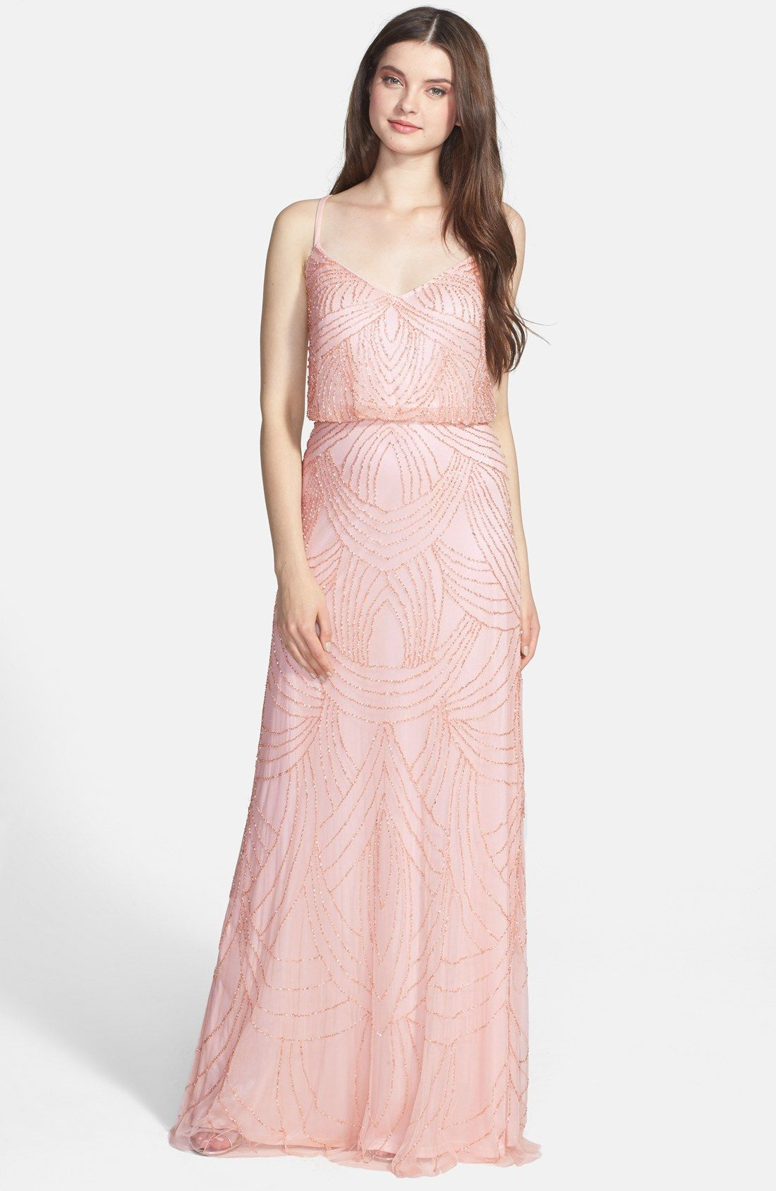 Nordstrom - Adrianna Papell Beaded Chiffon Blouson Dress $298 ...