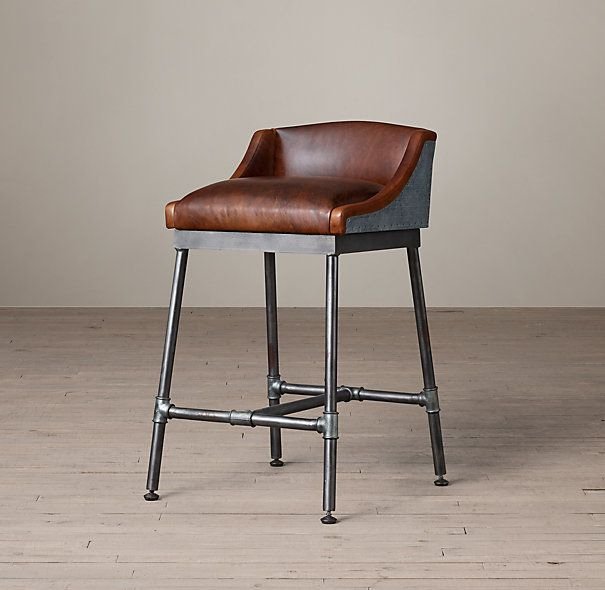 Iron Scaffold Leather Counter Stool For The Home