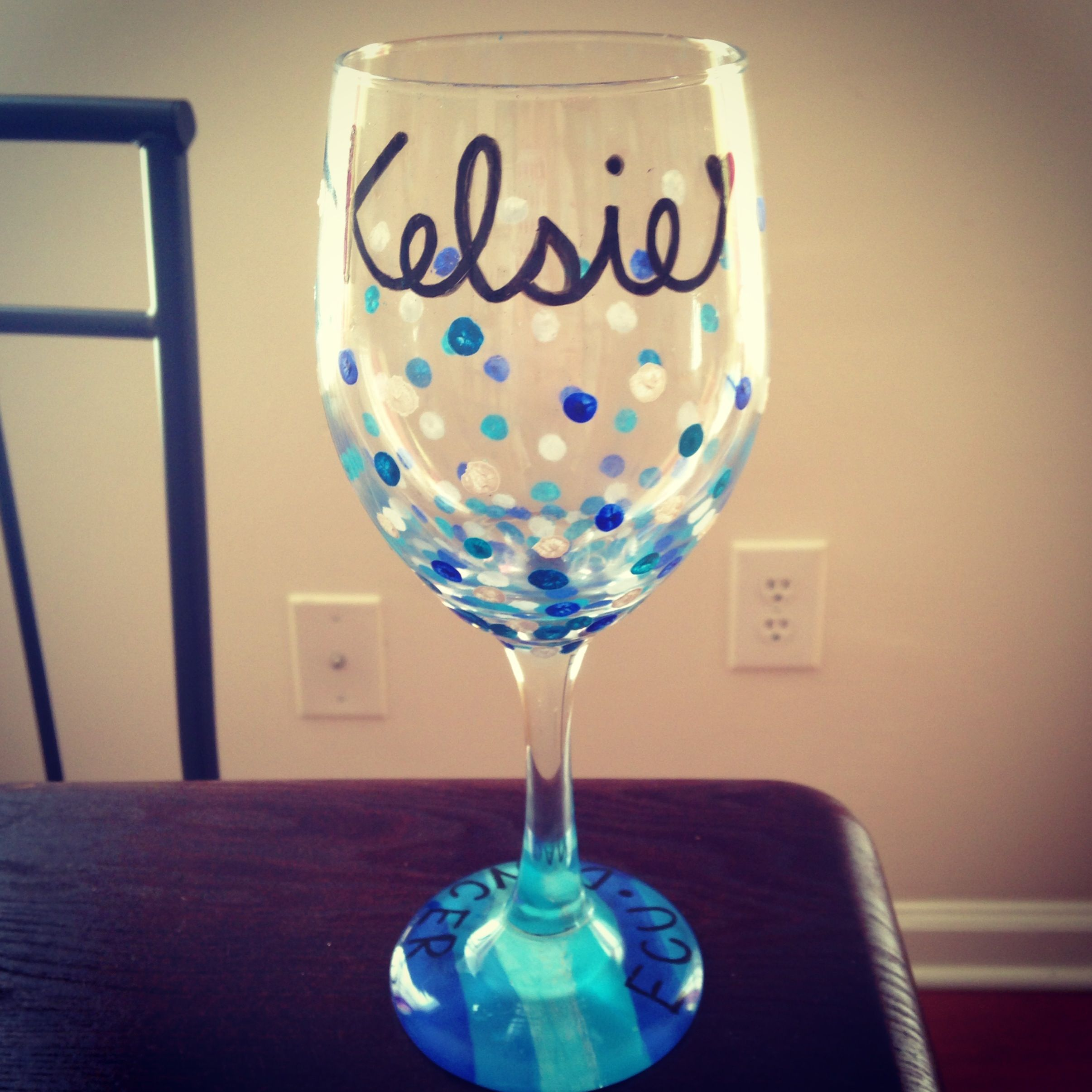 diy wine glass enamel paint put in cool oven bake at 350