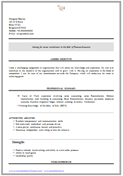 A Very Beautiful And Professional Resume Sample / Template For All Sample  Template Of Experienced B Com Graduate In Commerce Beautiful Resume Sample  ...
