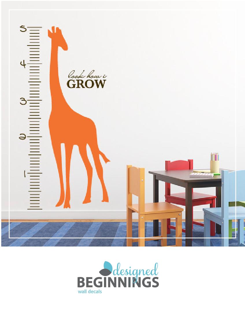 Giraffe Growth Chart Decal For Your Safari Nursery Theme Safari
