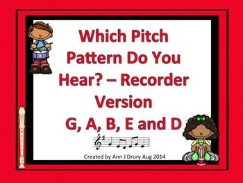 This is a children playing musical instruments themed listening game to practice the concepts of a quarter and paired eighth notes (ta and ti-ti) in combination with pitch patterns comprising recorder notes G, A, B, E and D. Each of the 12 game pages contains three, 4 beat pitch patterns with one embedded sound file for the students to identify the correct pattern.  Each pitch pattern is written using treble clef notation.