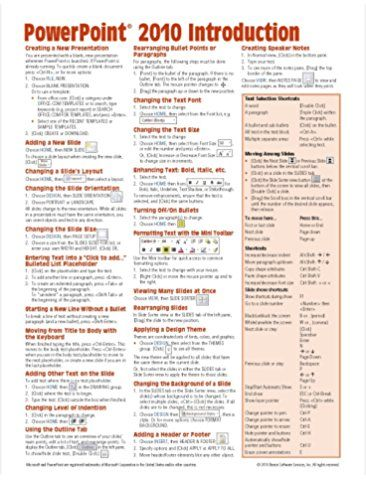 Microsoft Powerpoint 2010 Introduction Quick Reference Guide Cheat