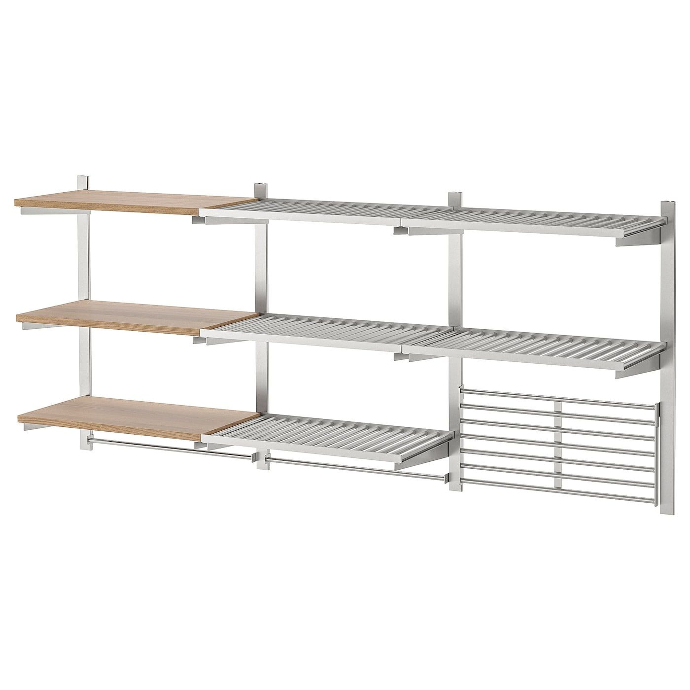 Kungsfors Storage Unit With Wall Grid Stainless Steel Ash