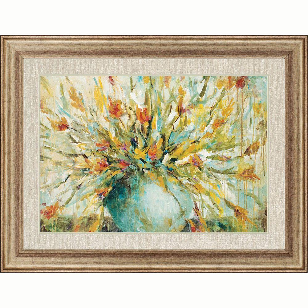 Grande Bouquet is framed in gold finish frame. | Floral Art | Pinterest