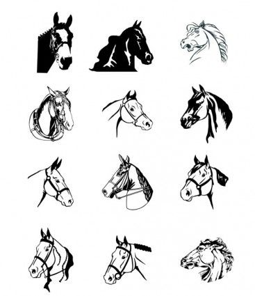 Free Vector Misc Black And White Horse File Size 273 MB Adobe Illustrator