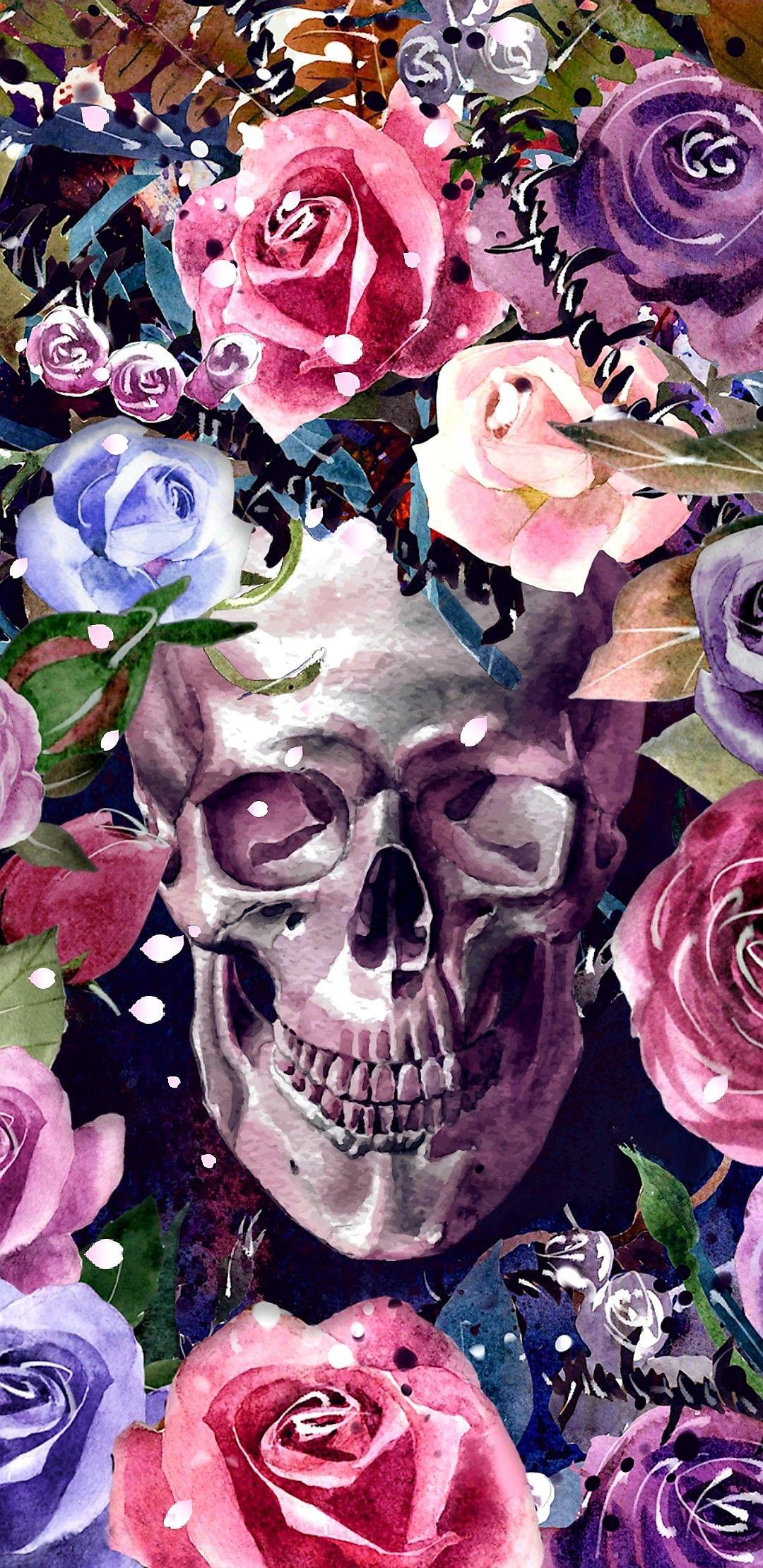 Floral Skull Garden Skull Wallpaper Sugar Skull Artwork Skull Artwork