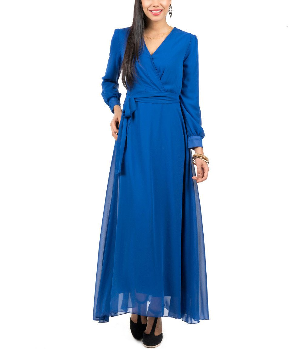 Look at this saxon blue surplice maxi dress on zulily today wear