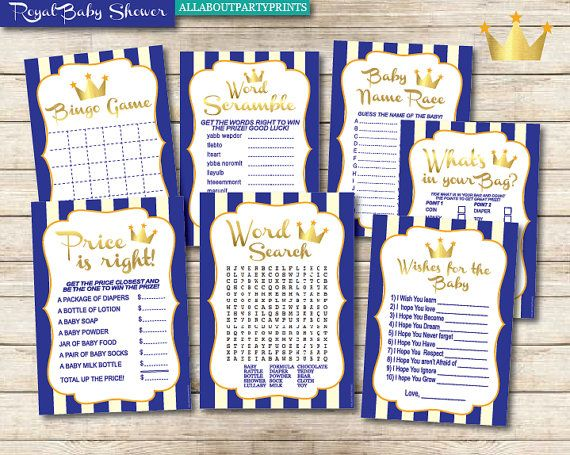 Instant Download Royal Prince Baby Shower Games Pack3 Baby Shower