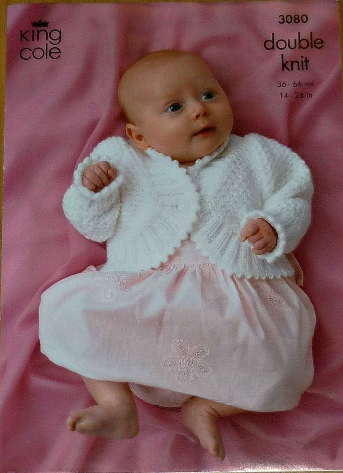 Knitting Pattern Baby Bolero Cardigan DK King Cole | Baby ...