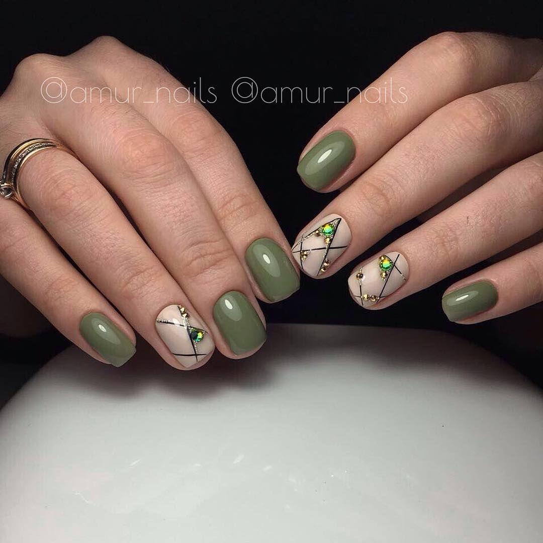 Зелёный маникюр – 616 фотографий (With images) | Nail ...