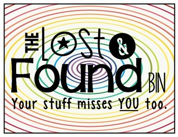 Lost And Found Sign Colorful And Black And White Versions In 2021 Lost Found Science Room Lost