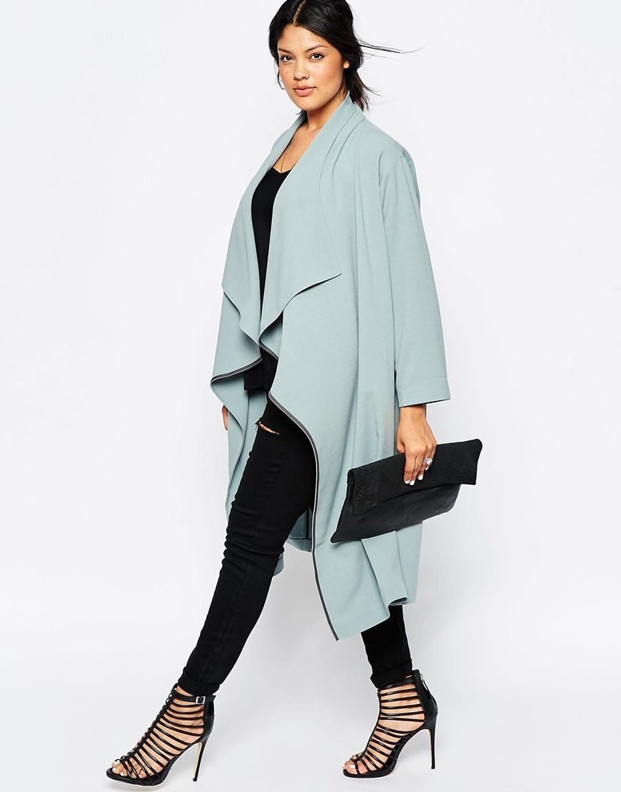 Plus Size Duster Jacket With Waterfall Front
