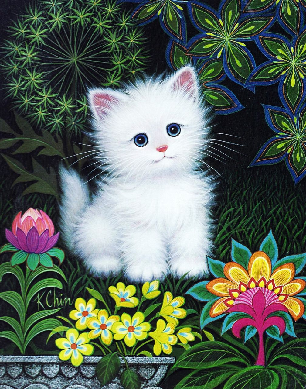 Kitten By K Chin 1970 S And Like Omg Get Some Yourself Some Pawtastic Adorable Cat Apparel Kitten Images Cat Art Cat Drawing