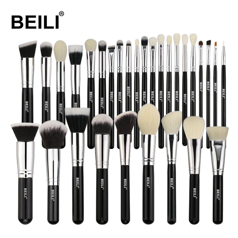 Beili Black Complete Professional Natural Goat Hair Foundation Powder Concealer Conto Conjunto De Pincéis De Maquiagem Escova De Maquiagem Pincéis De Maquiagem