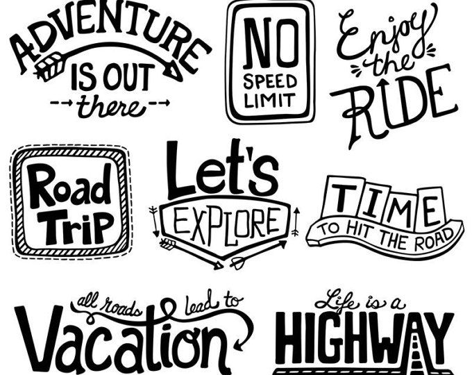Road Trip Clipart Digital Adventure Outdoor Vacation Scrapbook PNG Camping Travel