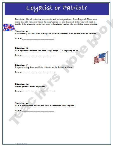 American Revolution Loyalist Vs Patriot Worksheet And Key 6th 8th