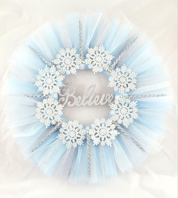 Photo of Snowflake Wreath, Christmas Wreath, Winter Wreath, Tulle Wreath-This House Believes
